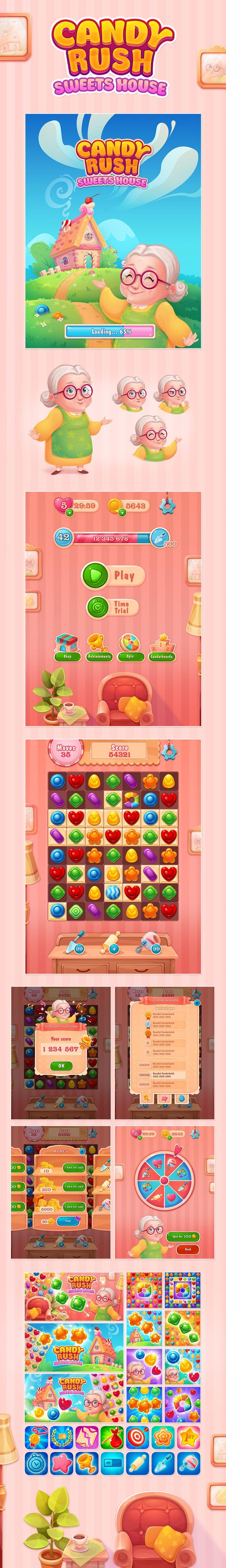 https://www.behance.net/gallery/57806841/Match-3-Candy-Rush match3 candy game art GUI