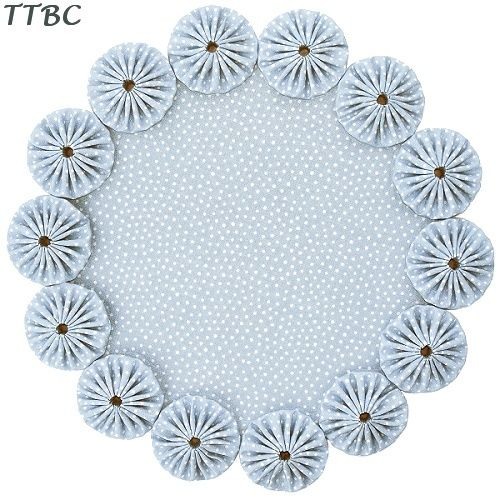 12 in. Posh Blue Polka Dots Cottage Chic Fabric YoYo Candle Mat Doily Fun with fabric yo yos: inspiration, patterns, projects and tutorials