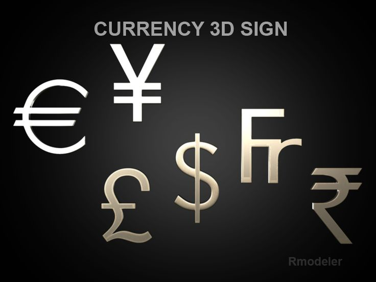 Currency sign 3D Model- In the 3D model presented signs of currencies of different countries: the French franc, the U.S. dollar, British pound, ruble, yen, euro.    Verts - 12864  Edges - 25712  Faces - 12856  Tris - 25712  UVs - 15118 - #3D_model #Collections of 3D Models,#Other 3D Models