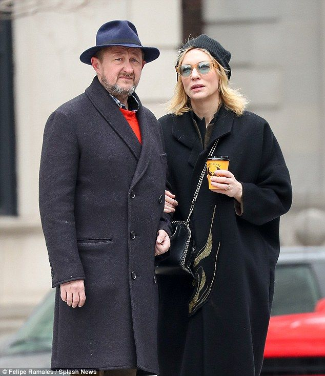 Arm-in-arm: Cate Blanchett and her hubby Andrew Upton were spotted walking arm-in arm thro...