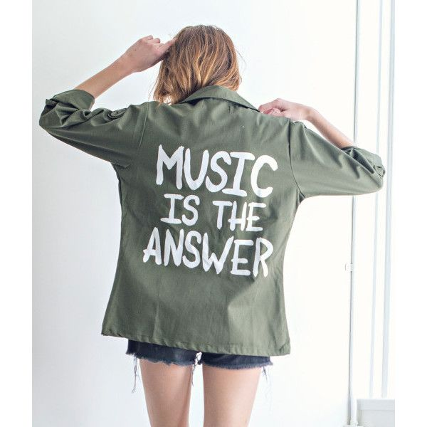 Music Is The Answer Vintage Army Jacket ($99) ❤ liked on Polyvore featuring outerwear, jackets, vintage jacket, vintage army jacket, field jacket, military jacket and patch jacket