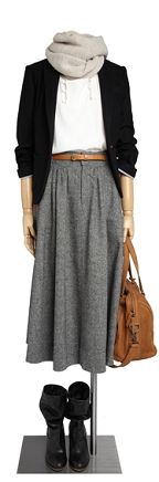 Comptoir des Cotonniers tweed skirt outfit