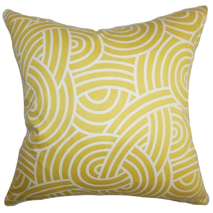Throw Pillow Deals : Wei Geometric Yellow White Down Filled Throw Pillow by The Pillow Collection Great deals ...
