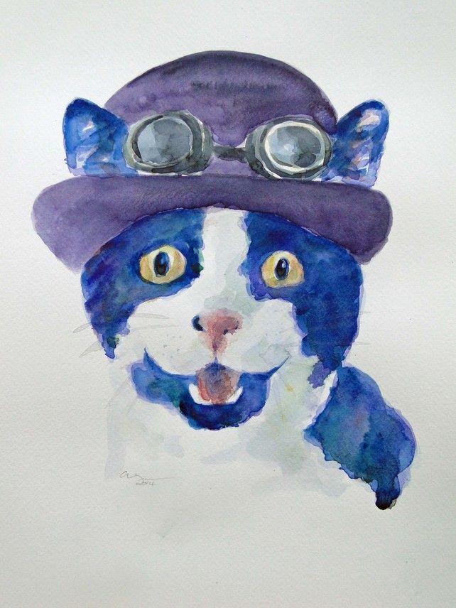Steampunk Happy Cat Original Watercolour & Ink Painting OOAK Art £35.00