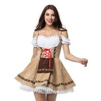 Item Name: Sexy Beer Girl Costume Beer Girl costume featuring a lace-up front mini dress with off th