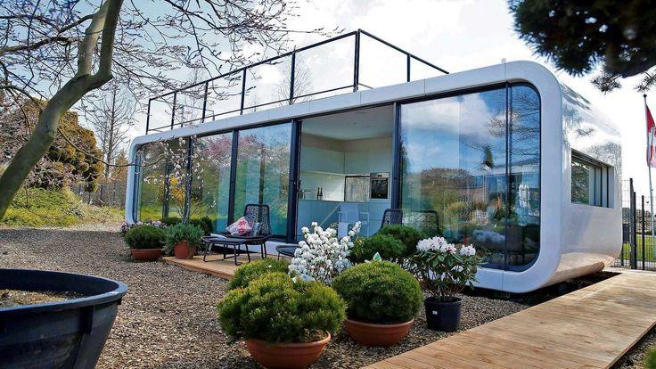 Im Garten, auf einem Flachdach oder einem Schwimmponton – dieses futuristische Mobil-Haus passt überall hin.