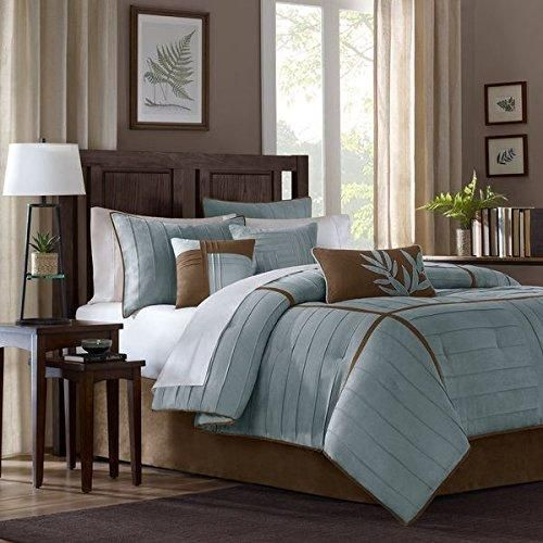 King Greyish Teal Comforter Set Welted Stripe Bedding Microsuede Soft Rich Soft Colors Brown Faded Blue