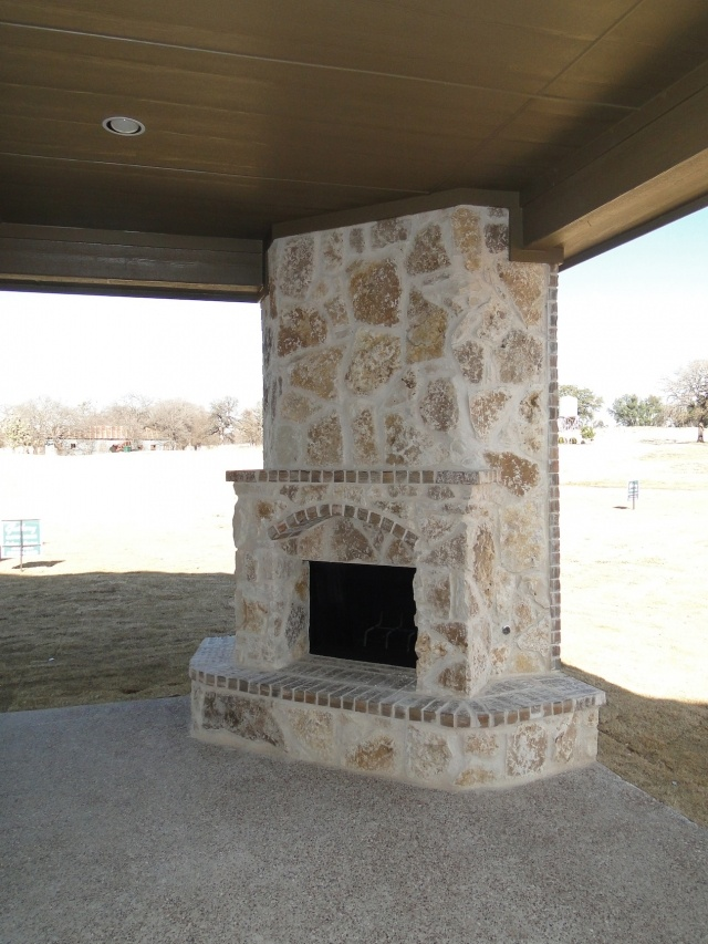 Outdoor fireplace :) Perfect for new house!