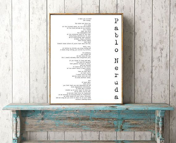 Love Verse Print, Love Poem Print, Pablo Neruda Print, If You Forget Me, Love Poetry Art, Gallery Wall Idea