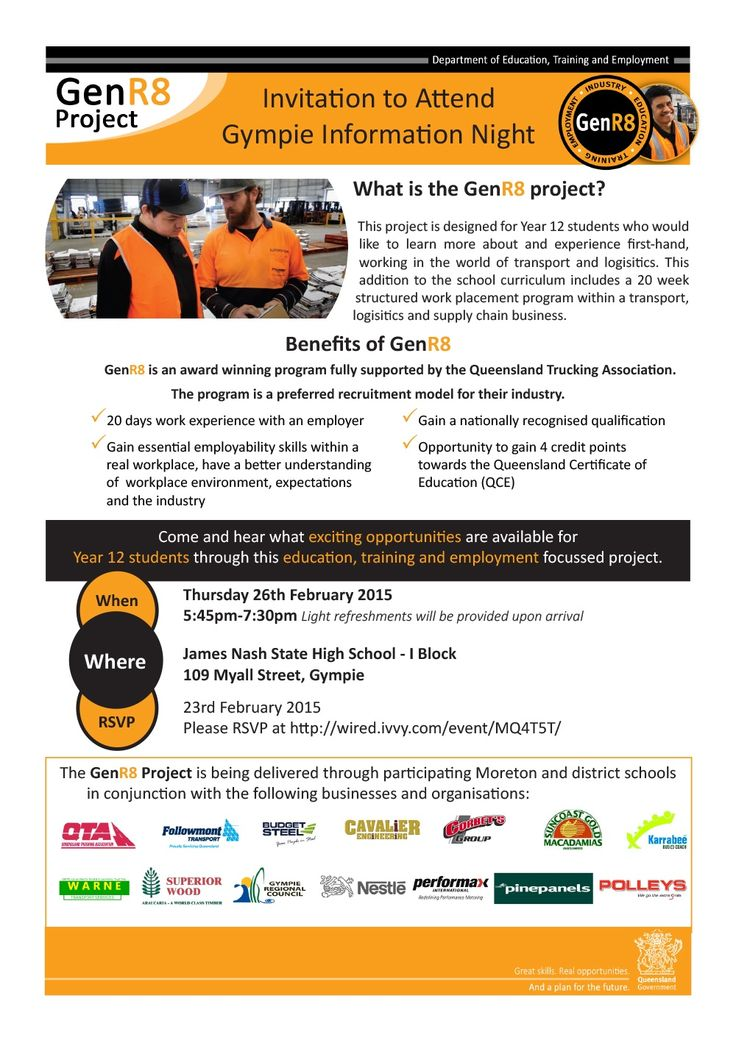 What is the GenR8 project?  This project is designed for Year 12 students who would like to learn more about and experience first-hand, working in the world of transport and logisitics. This addition to the school curriculum includes a 20 week structured work placement program within a transport, logisitics and supply chain business.