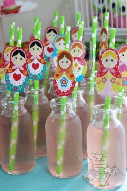 matryoshka straws in bottles of pink lemonade Nesting Dolls www.matrioskas.es