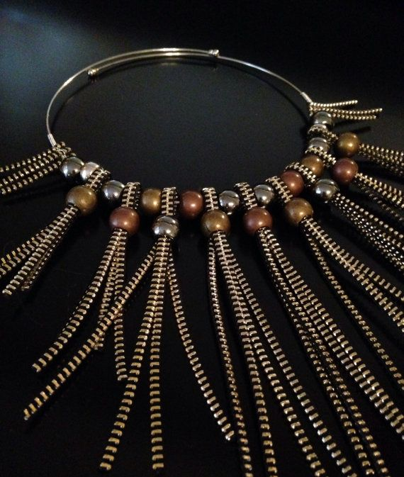 Gold+Zipper+Graded+Bib+Statement+Necklace+With+Metal+by+Rakhmat,+$45.00