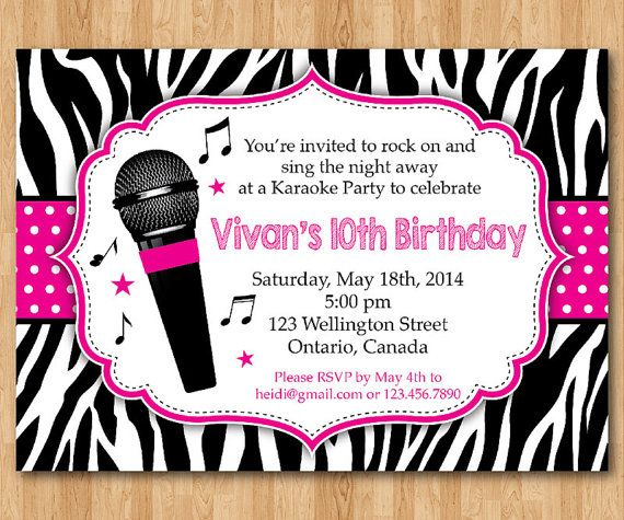 Karaoke Party Invitation Girl Karaoka Birthday Rockstar Hot Pink Zebra Print Printable Digital DIY Personalized In 2018