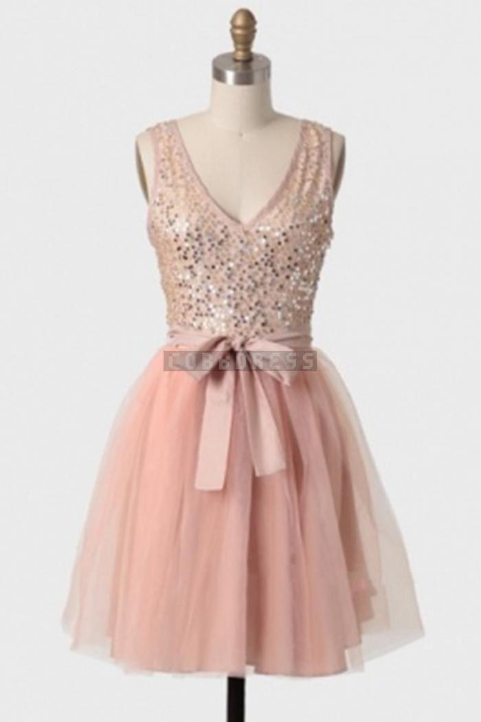 Pink Mini Bowknot Soft Tulle Amazing Bridesmaid Dress