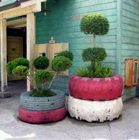 Neumáticos convertidos en macetas Cosas que se pueden hacer con neumáticos