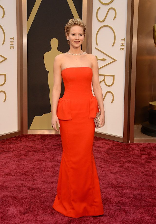 "Jennifer Lawrence, a supporting actress nominee for her role in ""American Hustle,"" in Dior Haute Couture. #Oscars #AcademyAwards"