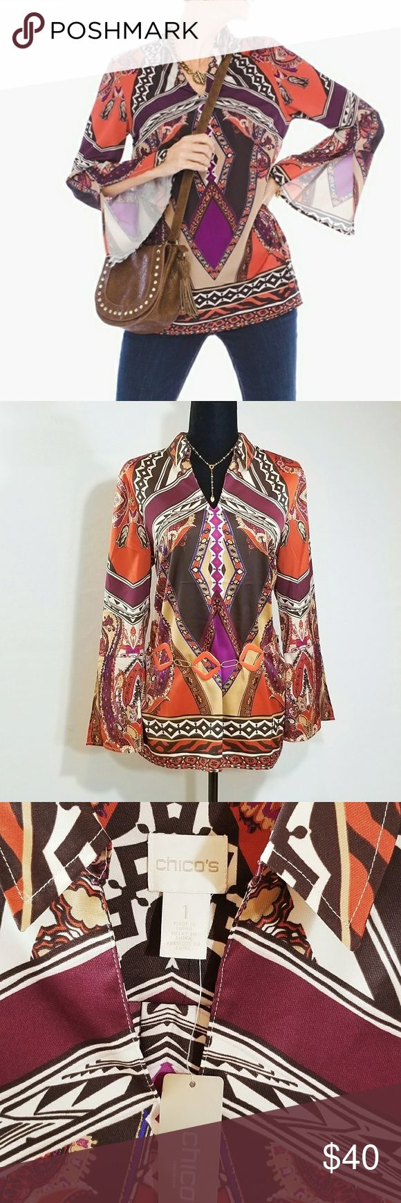 """Chico's Flowing Tunic Scarf Print w/Enamel Belt M NWT Chico's Sun Canyon tunic has flowing sleeves with split cuff styling. Scarf print tunic comes with coral enamel and gold tone chain belt. The tunic is NWT, the belt I have added for free because I think it looks great together, belt is preloved & gently worn. Chico's size 1; online chart says this is equal to 8/10. Please know Chico's clothes run large. I wear a large and can easily fit into this top. Belt 40""""long. Tunic armpit to armpit…"""