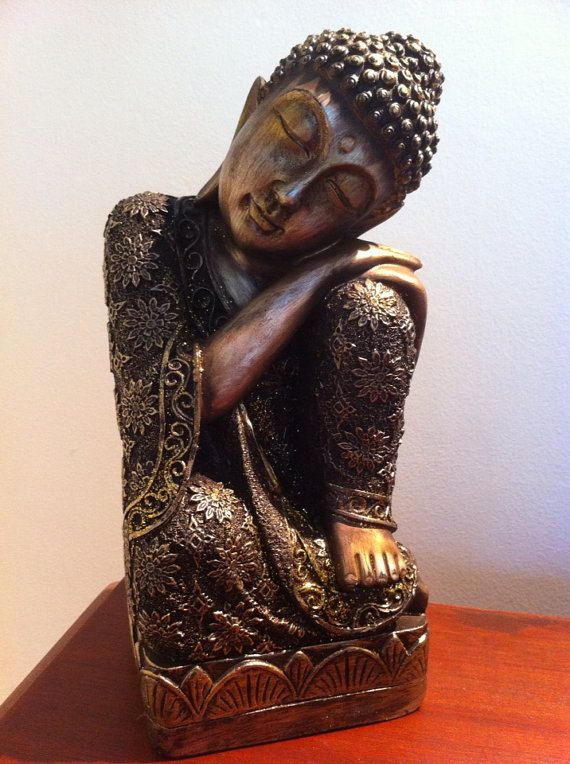 Sleeping Sitting Buddha Statue - Asian Home Decor Zen Garden Hindu Sculpture - Great Gift on Etsy, $84.99
