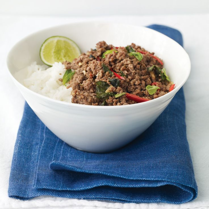 video: Thai Beef with Chiles and Basil Over Coconut Rice--use ground pork, beef, or turkey