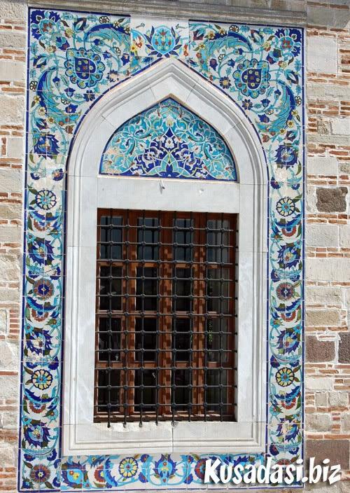 Tiled window of the mosque at Konak, Izmir.