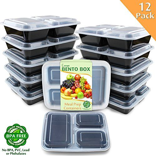 Enther Meal Prep Containers [12 Pack] 3 Compartment with Lids, Food Storage Bento Box   BPA Free   Stackable   Reusable Lunch Boxes, Microwave/Dishwasher/Freezer Safe,Portion Control (36 oz) #Enther #Meal #Prep #Containers #Pack] #Compartment #with #Lids, #Food #Storage #Bento #Free #Stackable #Reusable #Lunch #Boxes, #Microwave/Dishwasher/Freezer #Safe,Portion #Control