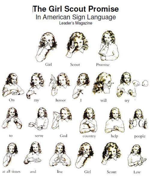 Girl Scout Promise in American Sign Language - in-the-corner
