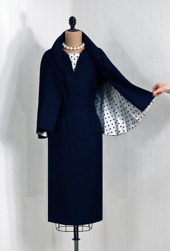 Cocktail Suit, Jacquet-McDonalds: 1950's, polka-dot print lined linen blend, polka-dot insert, pencil skirt, matching high-collar belted capelet/jacket.