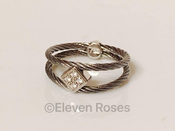 Designer Philippe Charriol 750 18k White Gold Steel Cable Diamond Ring Size 6