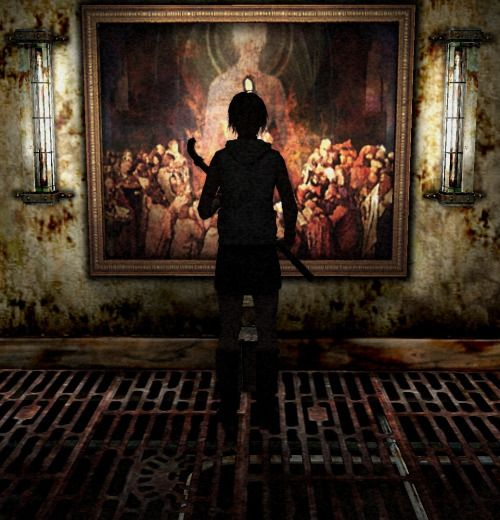 Heather in front of a painting in Silent Hill 3