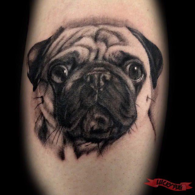 Leg pug tattoo by Marcel Tambach of se7en Sins Tattoo - www.luckypug.com
