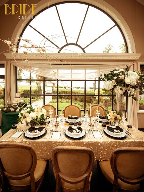 The gorgeous Tea Room at The Teahouse restaurant in Stanley Park, fully dressed for a vintage-inspired wedding,