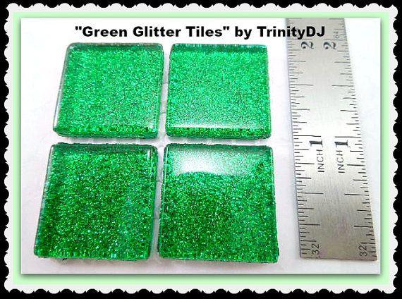 Green Glitter Tiles - Cabochons - Glass glitter tiles