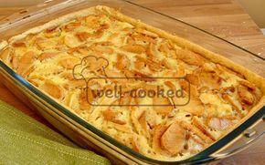 вкусный яблочный пирог со сметанной заливкой