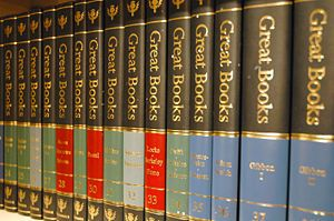 All the books you need. Great Books of the Western World is a series of books originally published in the United States in 1952 by Encyclopædia Britannica Inc. to present the Great Books in a single package of 54 volumes. The series is now in its second edition and contains 60 volumes.