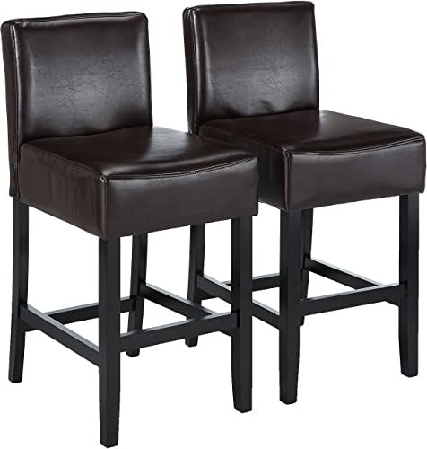 Beautiful Best Selling Lopez Leather Counter Stool, Brown ...