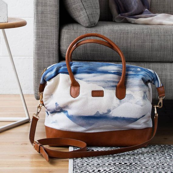 Skyline Bag Printed Cotton Tote Bag with Leather by SqueakDesign