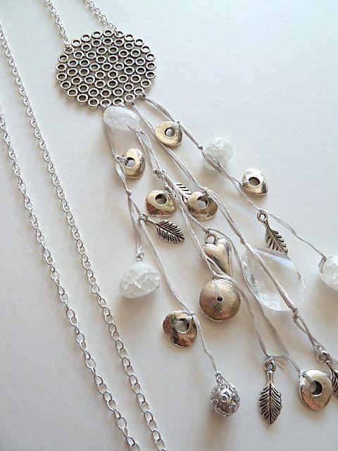 Multi Strand ronde hanger ketting kristal en zilver door Kiwico