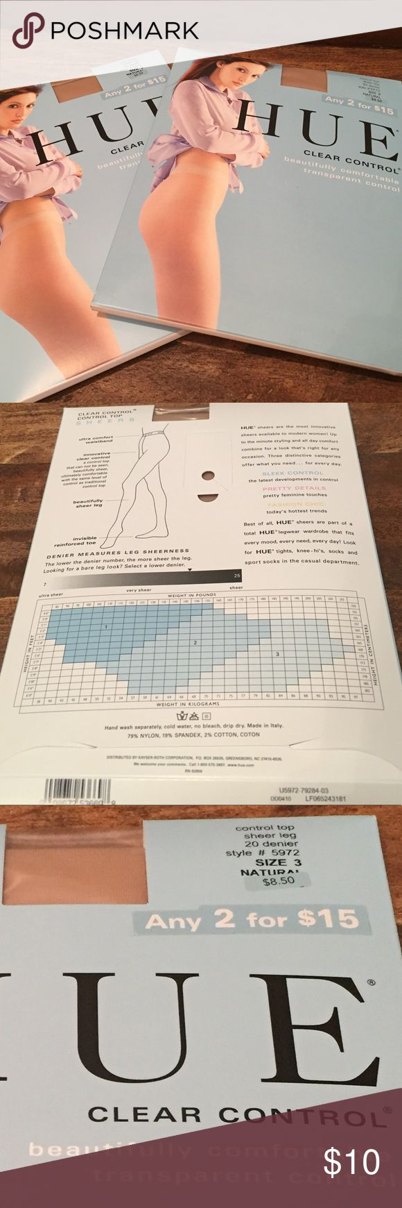 New 2 Pack HUE Clear Control Pantyhose Brand new, set of 2 pairs! HUE Clear Control Pantyhose. Both pairs are size 3 in the color Natural. HUE Accessories Hosiery & Socks