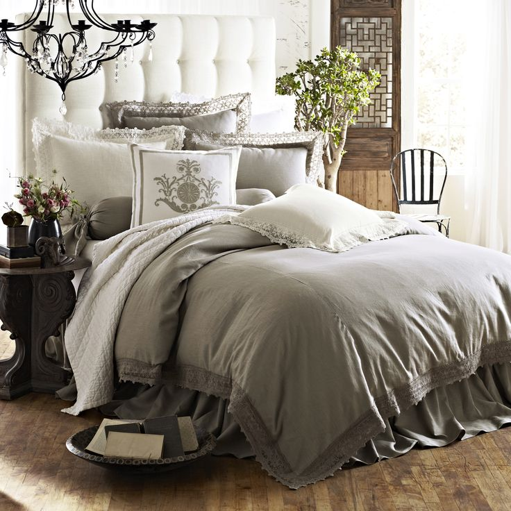 Theresa Flax Lace Bedding and Emily Diamond Quilted Collection By LILI Alessandra