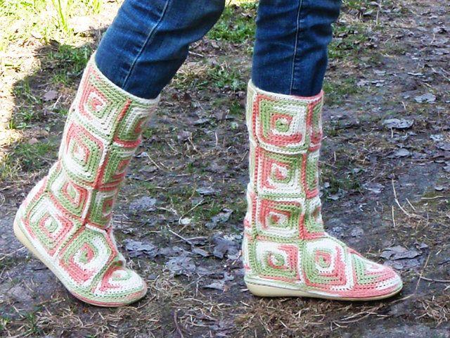 Tejido Facil: Patrón: botas tejidas con cuadraditos!!!