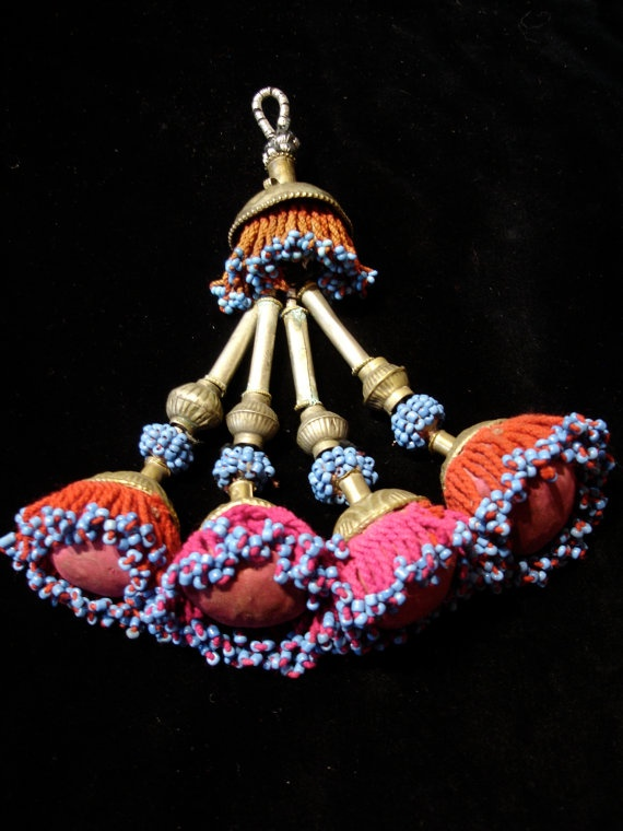 Afghani blue and pink bead tassle pom pom for by HilarysBazaar, $62.00