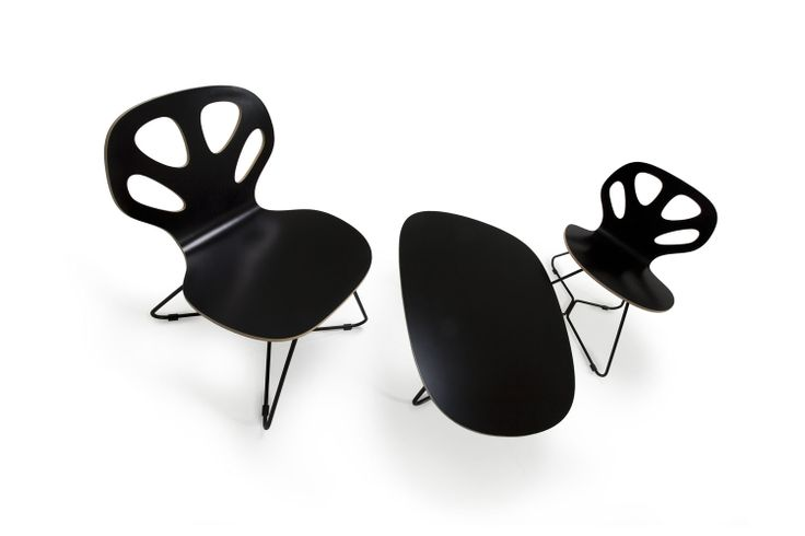 black armchair and low table