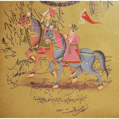 Mughal Procession Scene Miniature Painting Handmade Home Décor Acrylic Color Art
