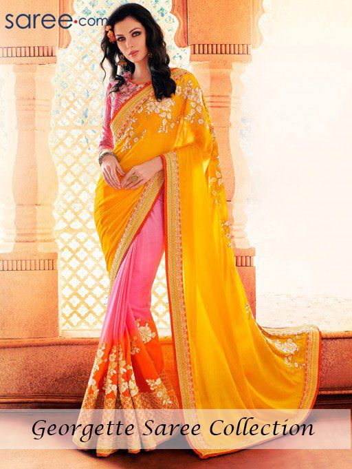 YELLOW AND PINK GEORGETTE SAREE WITH EMBROIDERY WORK