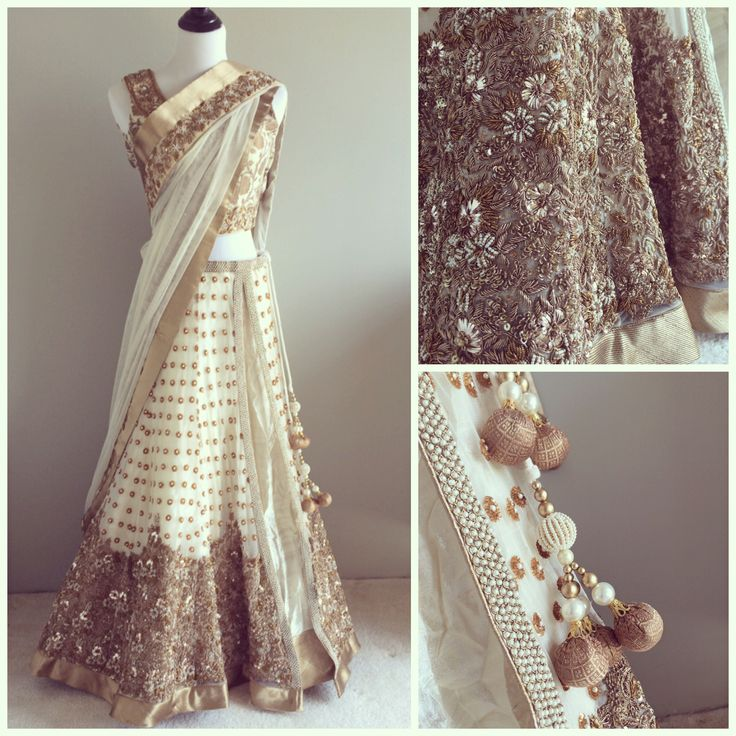 white and gold lehenga with beautiful embroidery...could wear this instead of the tradition white gown.....