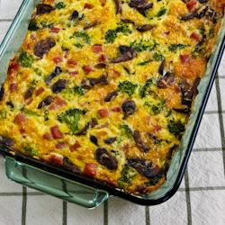 Kalyn's Kitchen®: Recipe for Broccoli, Mushrooms, Ham, and Cheddar Baked with Eggs (Low-Carb, Gluten-Free, Phase One)