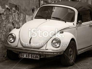 Convertible Yellow VW Beetle - Sepia Tones Royalty Free Stock Photo