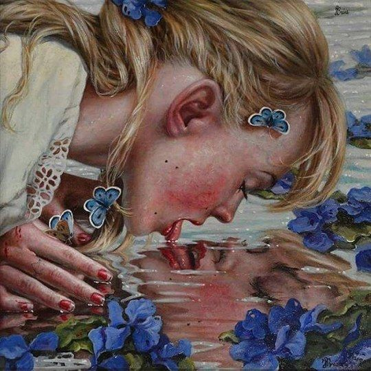 "@janabrike's paintings are so beautiful and thoughtful! This one ""Thirst"" communicates a strong desire to get to know one's true self beyond all reflections #beautifulbizarre #beautifulbizarremagazine #artmagazine #indiemagazine #newcontemporaryart #contemporaryart #art #painting #lick #desire #reflection #portrait"