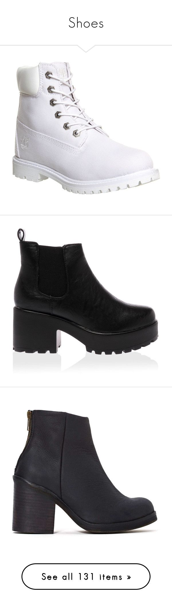 """""""Shoes"""" by cynthia-angel ❤ liked on Polyvore featuring shoes, boots, ankle booties, botas, timberlands, ankle boots, black laced booties, laced up ankle boots, long black boots and timberland boots"""
