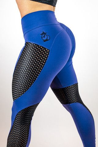 Bootyqueen Laser Cut Legging Royal Blue & Black